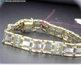 10K TWO TONE MEN'S BRACELET 20 DIAMONDS APX.40CTW 27G 8.5""